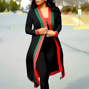 Sweaters - ❤️ Long Black Cardigan Robe with Green Red Stripe